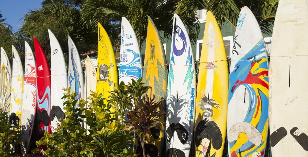 Surfboard fence in Hawaii