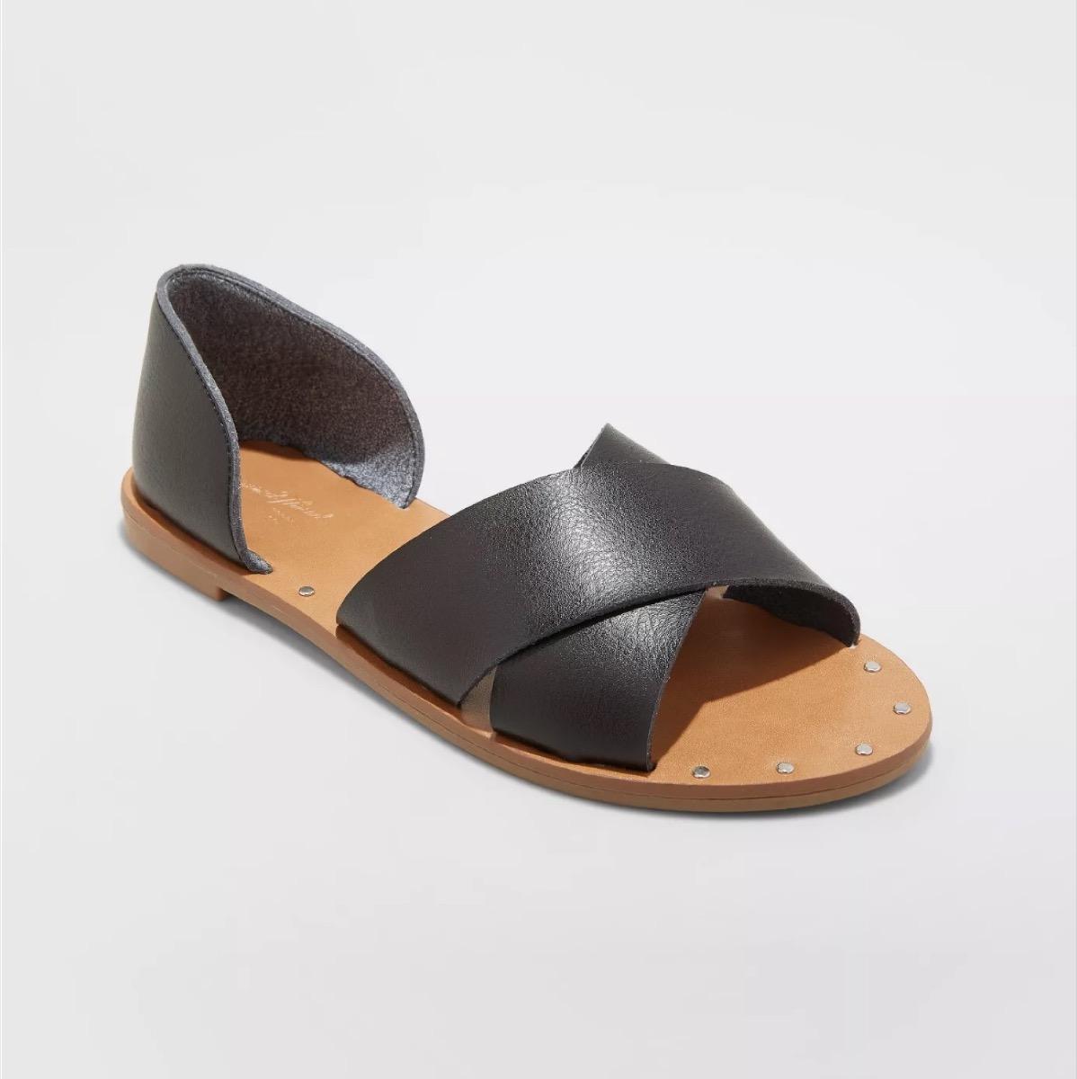 black faux leather sandals, affordable sandals