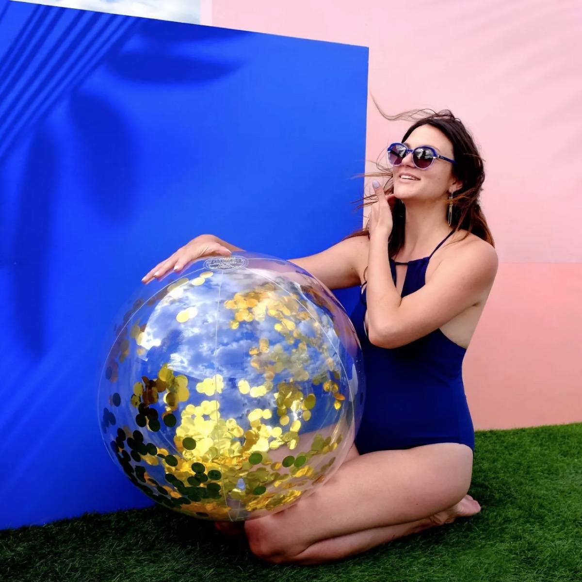 gold confetti beach ball, target beach essentials