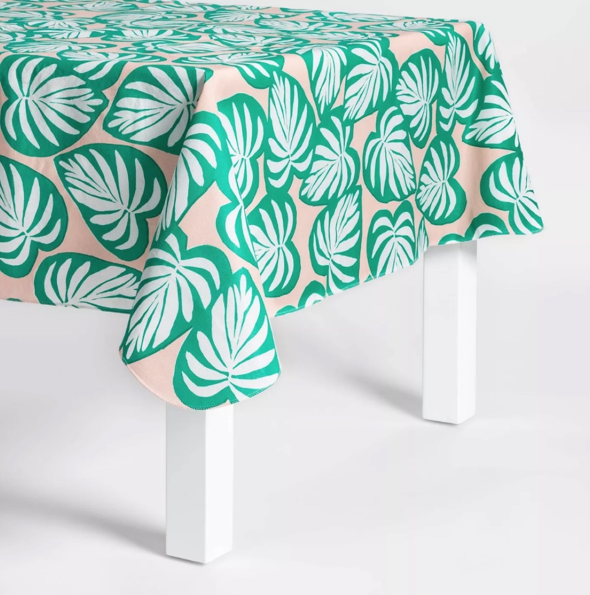 green and pink palm tree print table cloth, summer party essentials