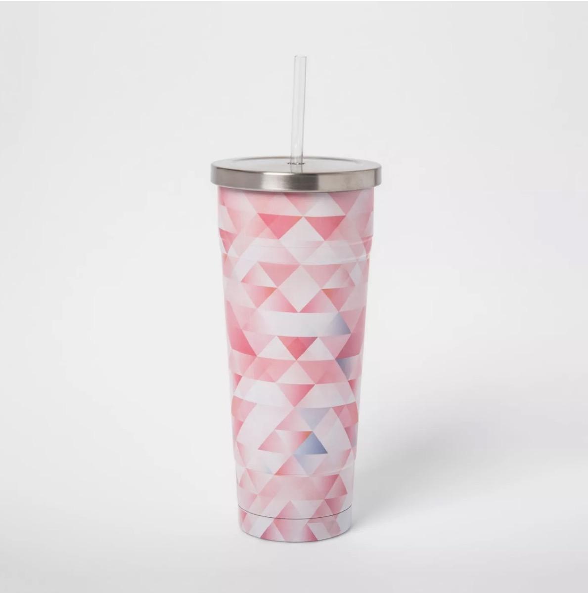 pink stainless steel straw cup, target beach essentials