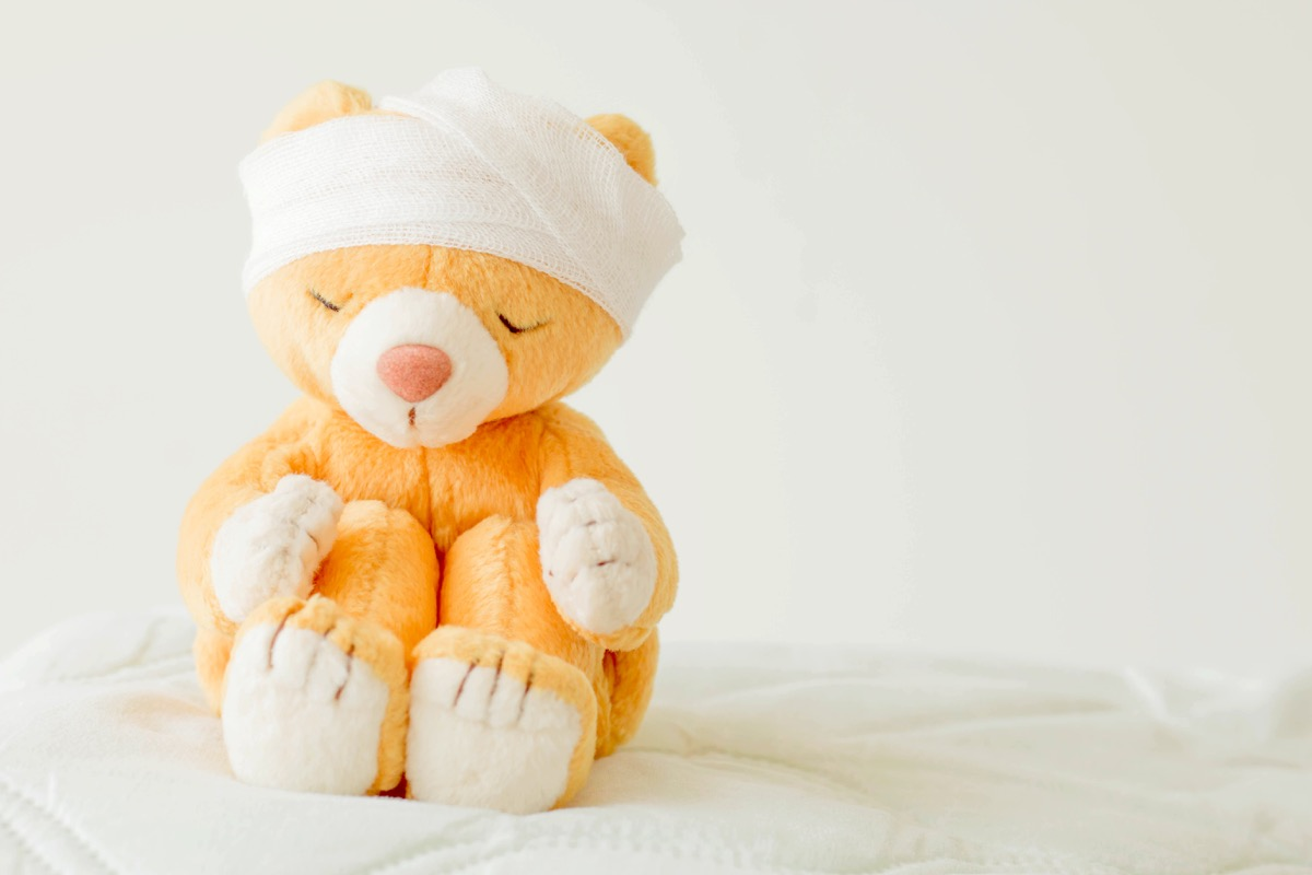 teddy bear with an injury, bandages on its head
