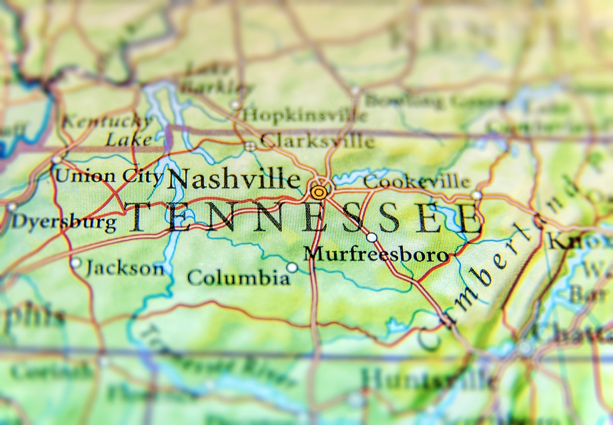 tennessee geographical map state natural wonders