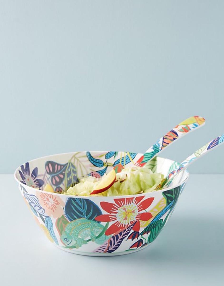 flower print serving bowl, summer party essentials