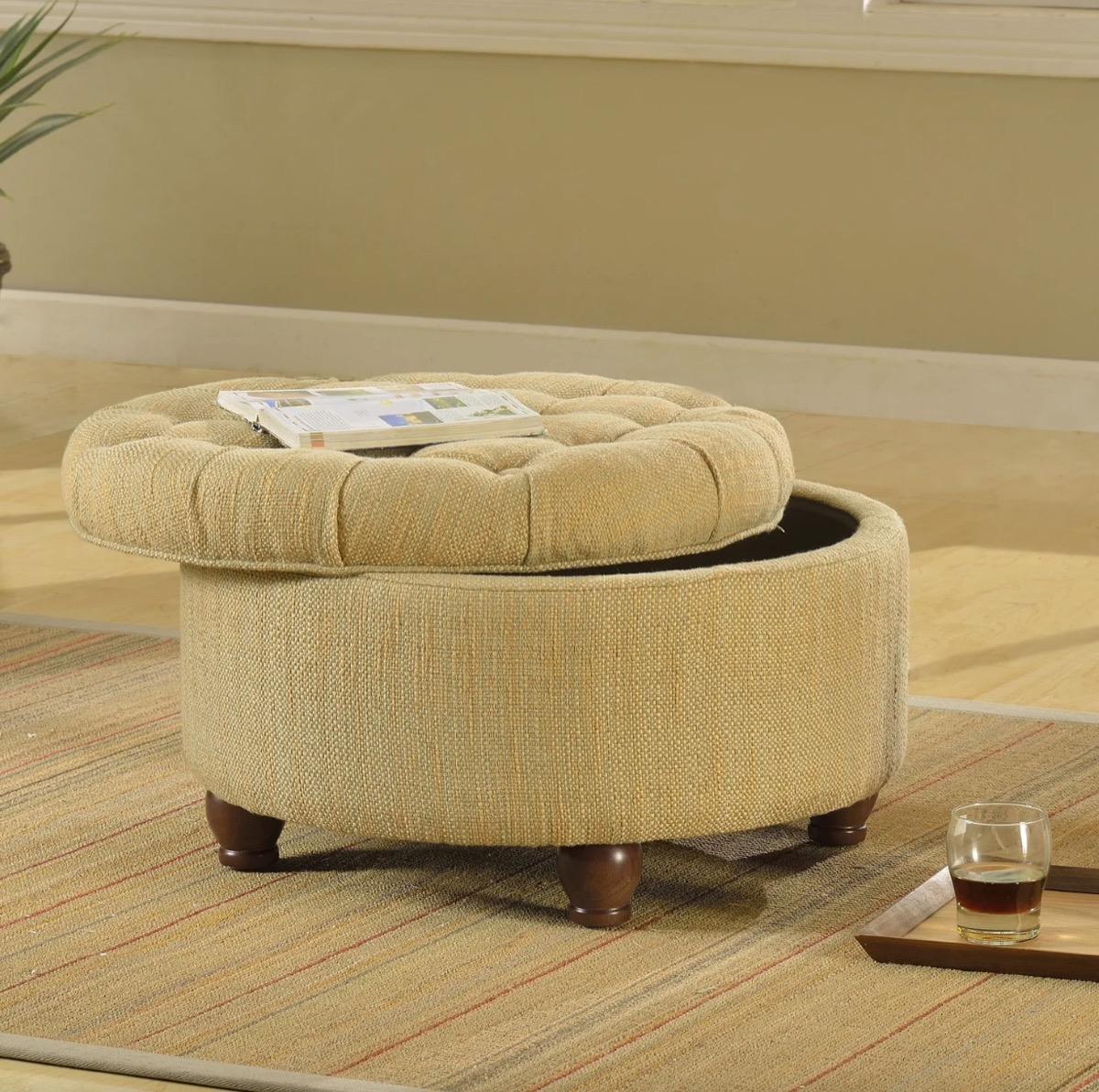Tufted Tweed Storage Ottoman Storage Furniture