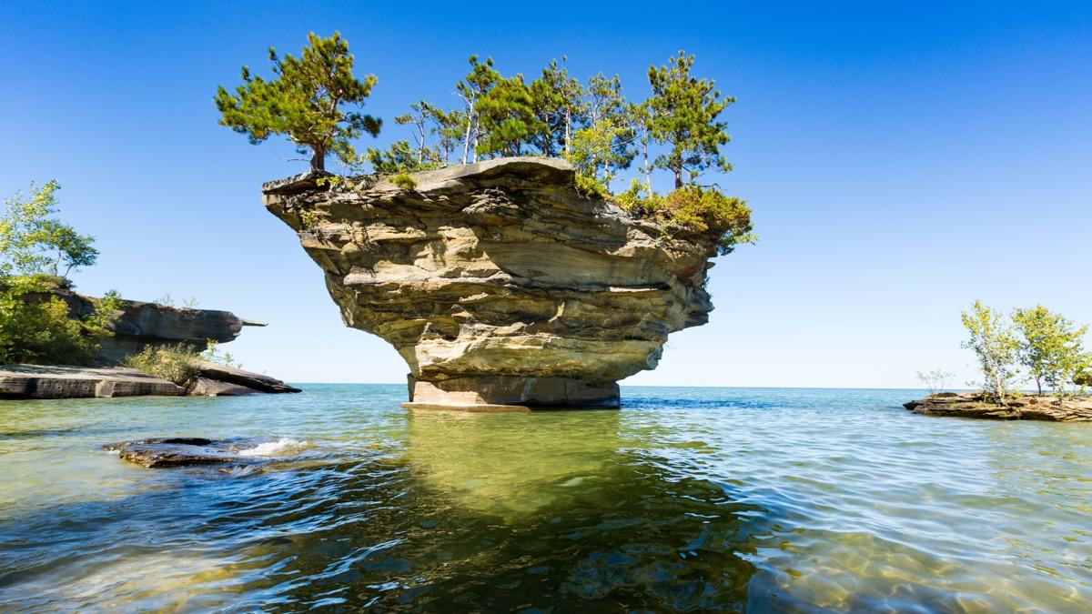 turnip rock lake huron michigan state natural wonders