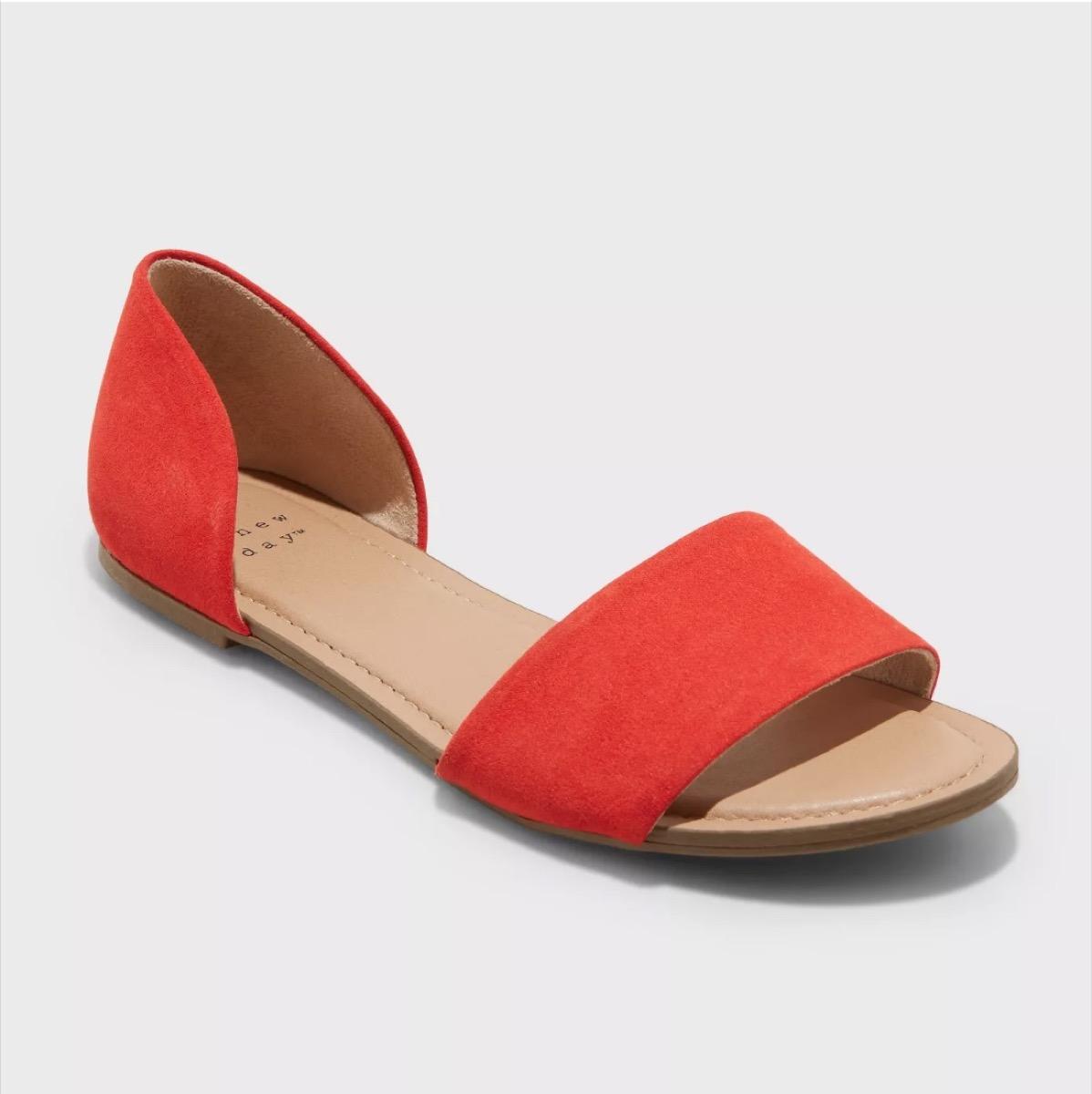 red sandals, affordable sandals