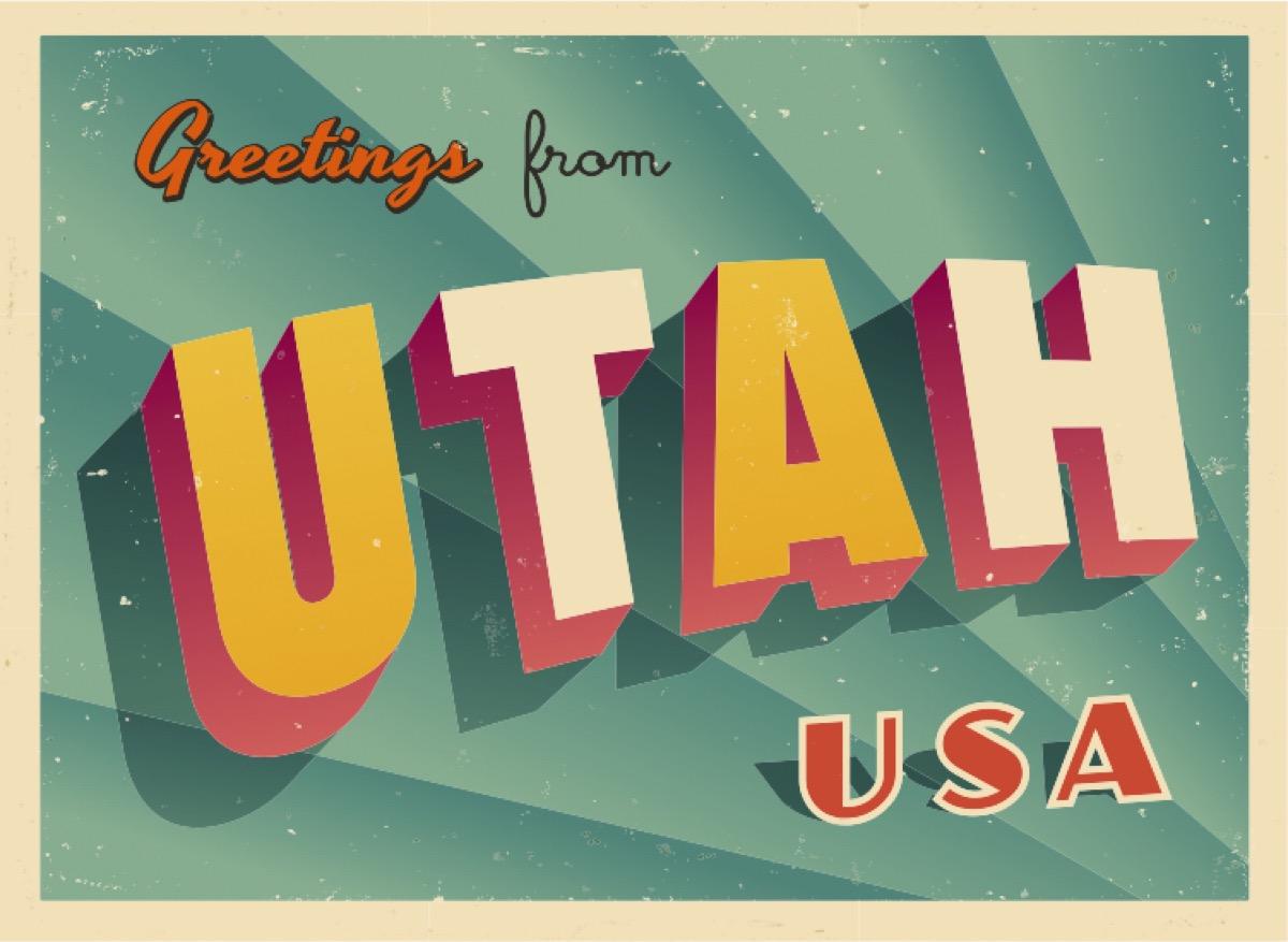 utah postcard famous state statues