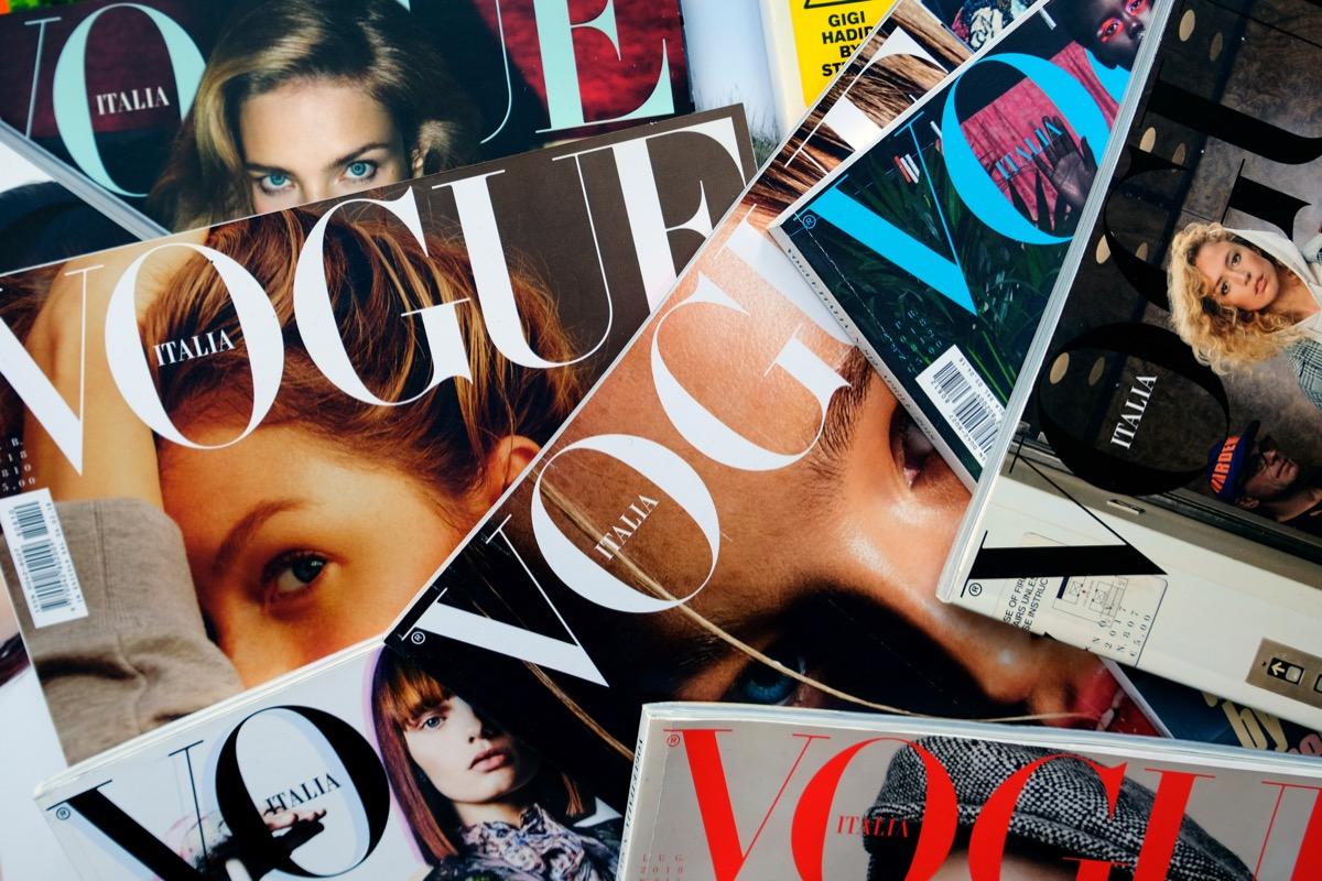 vogue magazine, pile of magazine