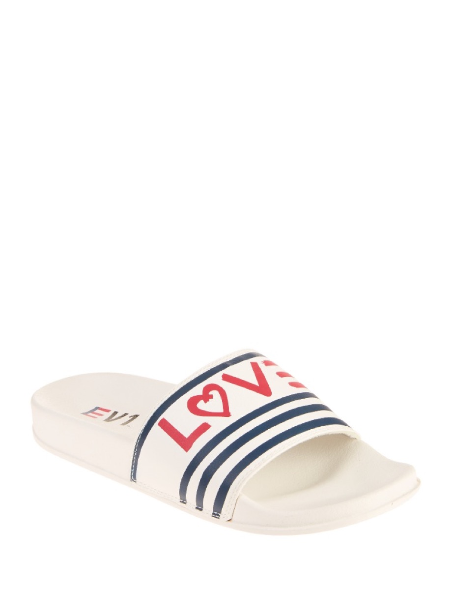 white sandals with love on the arch, affordable sandals