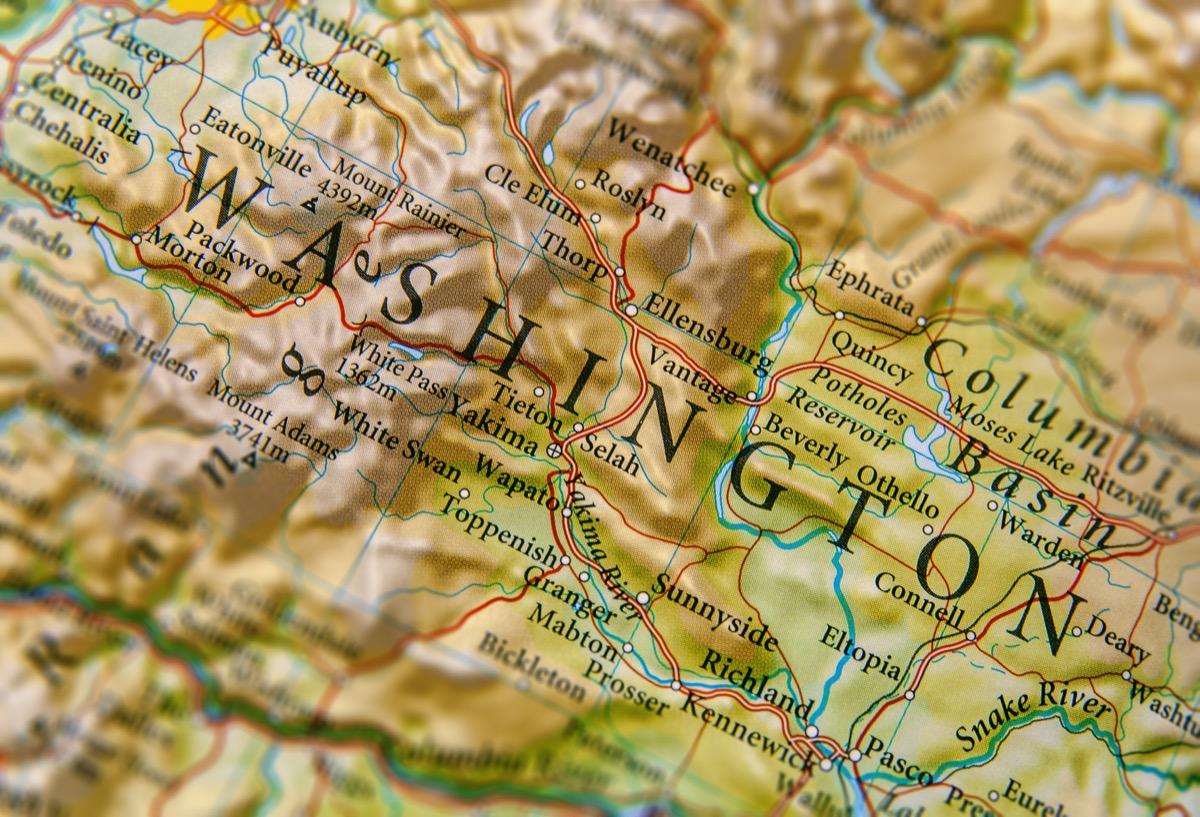 washington geographical map state natural wonders