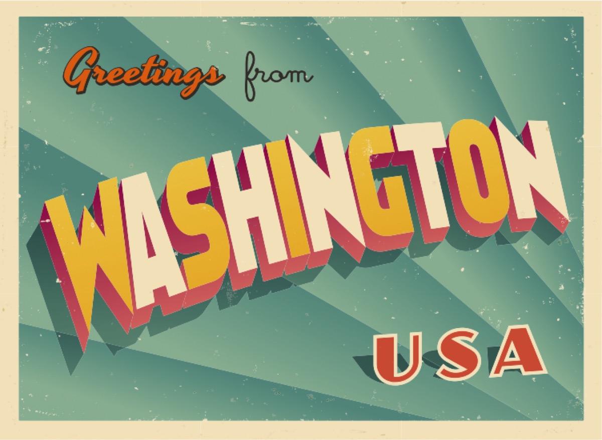 washington state postcard famous state statues