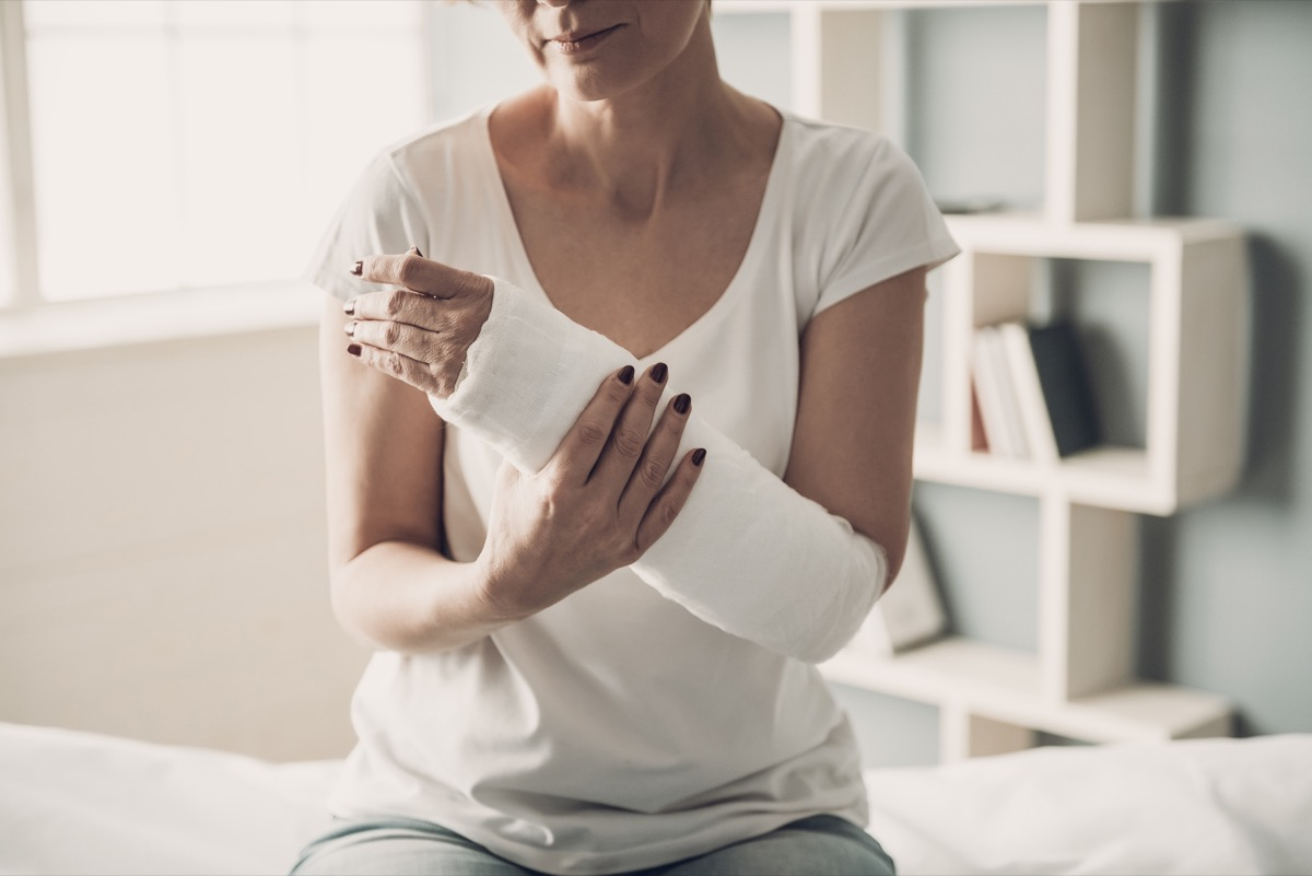 woman with a bandaged arm