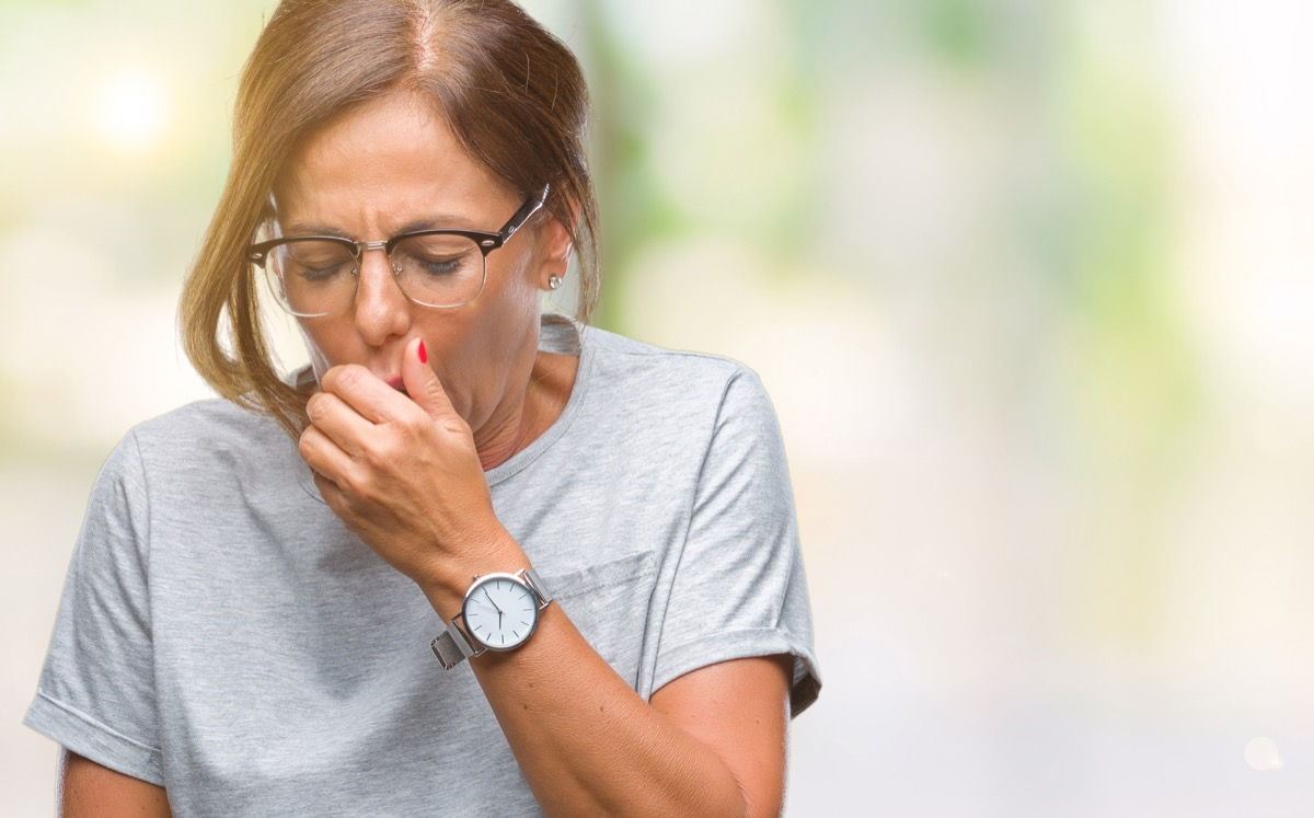 woman coughing, health risks after 40