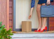 woman getting package sent to door