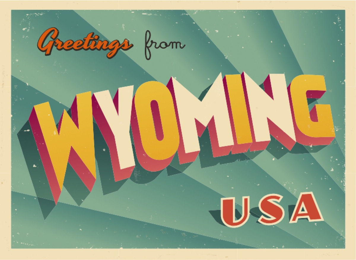 wyoming postcard famous state statues