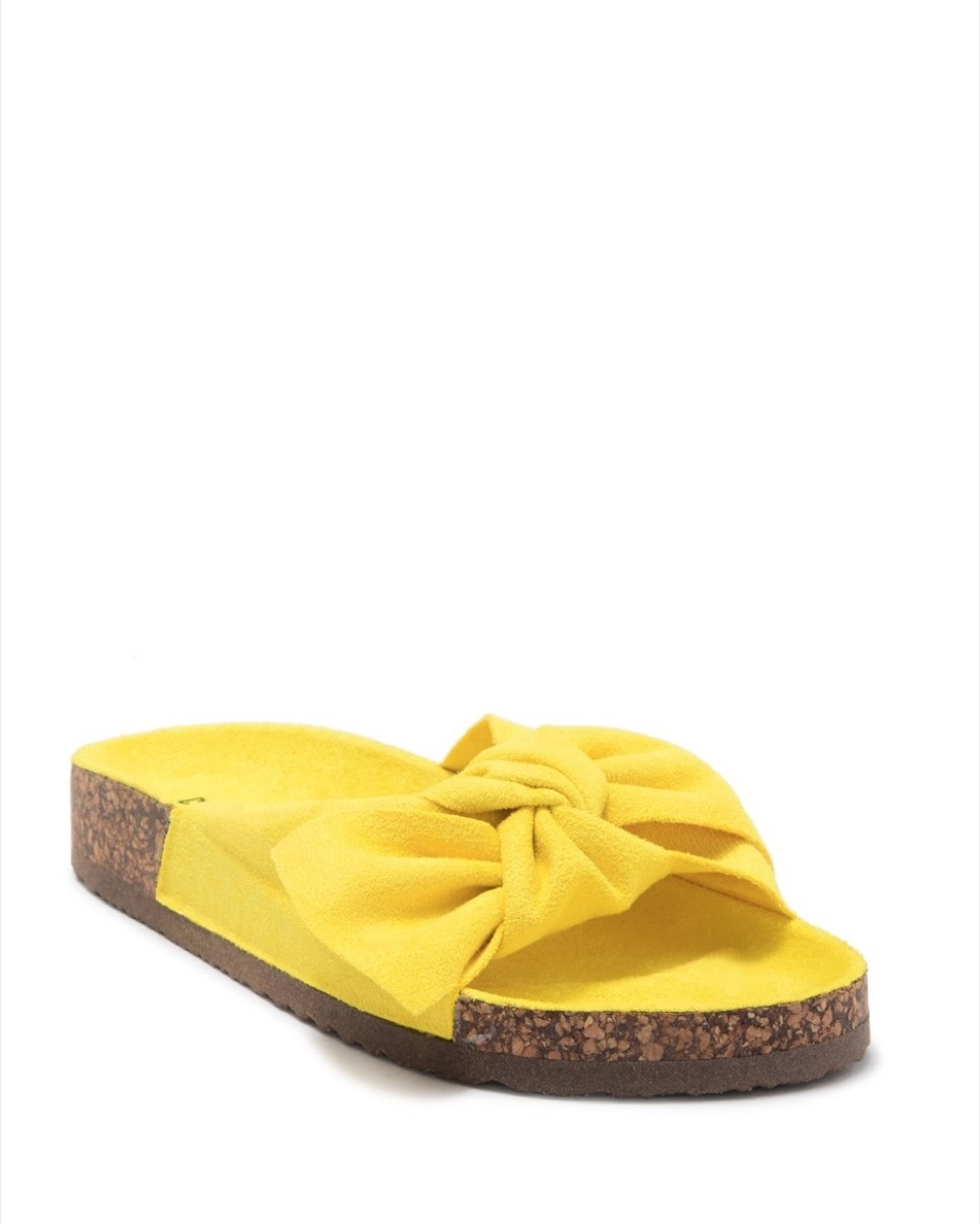 yellow bow sandals, affordable sandals
