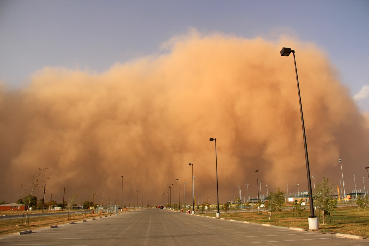 Dust storm blowing in