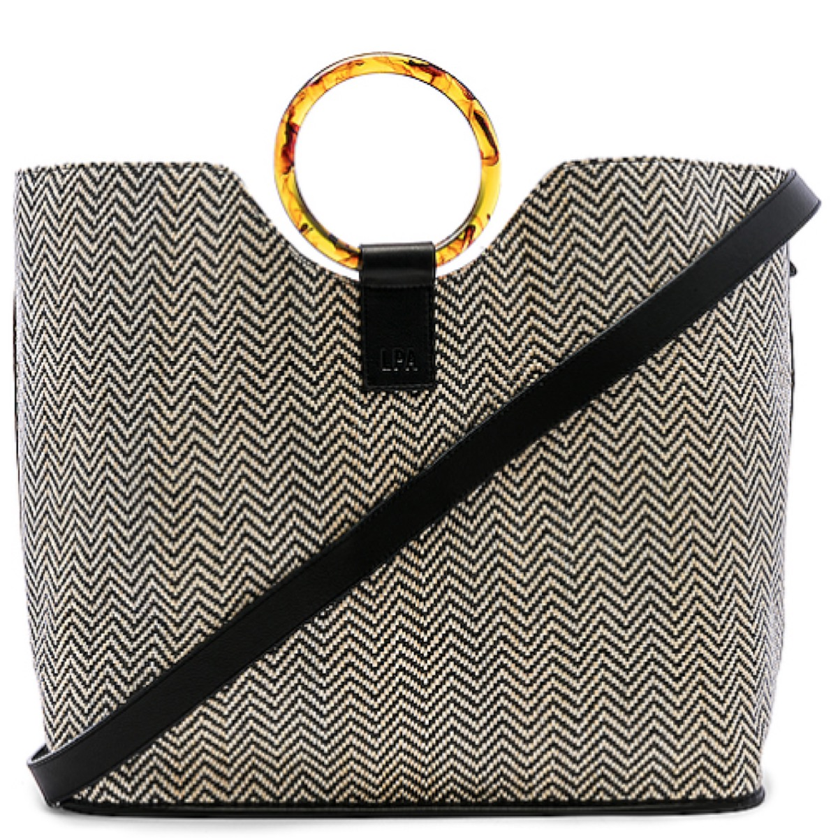 bangle-handle houndstooth tote, luxury beach bags