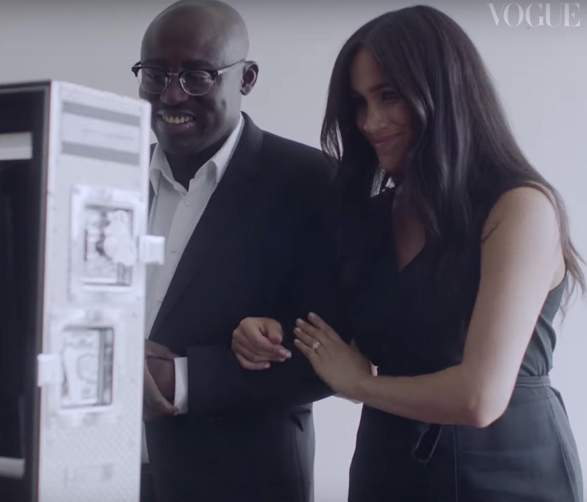 Meghan Markle with British Vogue editor Edward Enninful