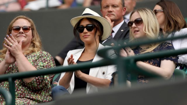 Meghan Markle sits in stands at Wimbledon 2019 with two friends