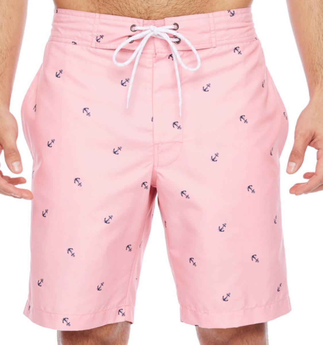 anchor print pink swim trunks, cheap swimsuits