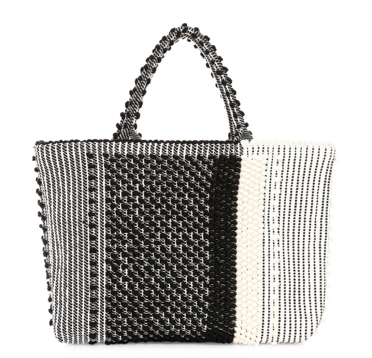 black and white woven tote, luxury beach bags