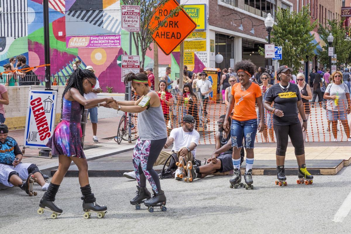 rollerskating Baltimore Artscape Festival.