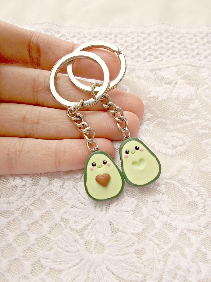 pair of avocado keychains, best friend gifts