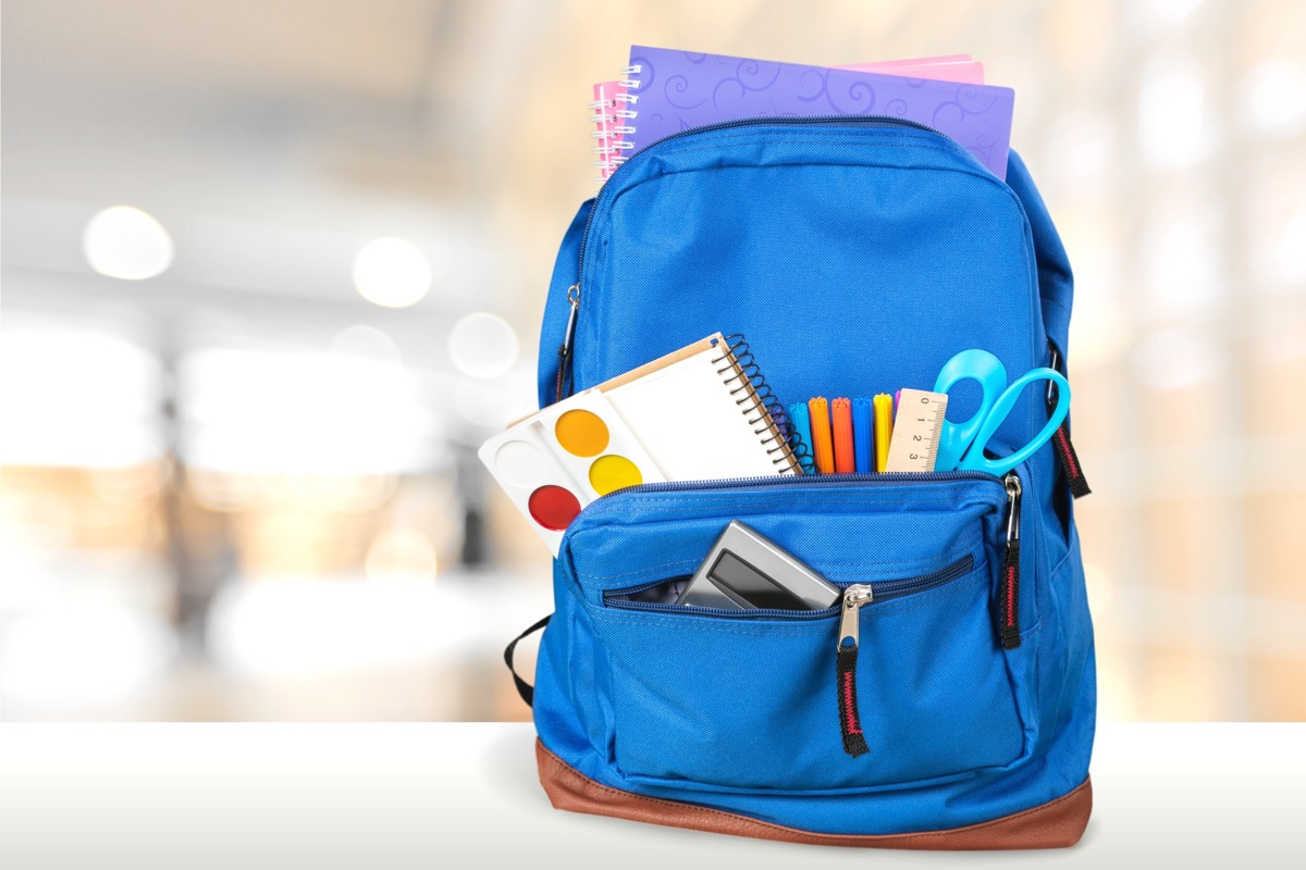 back to school backpack filled with supplies