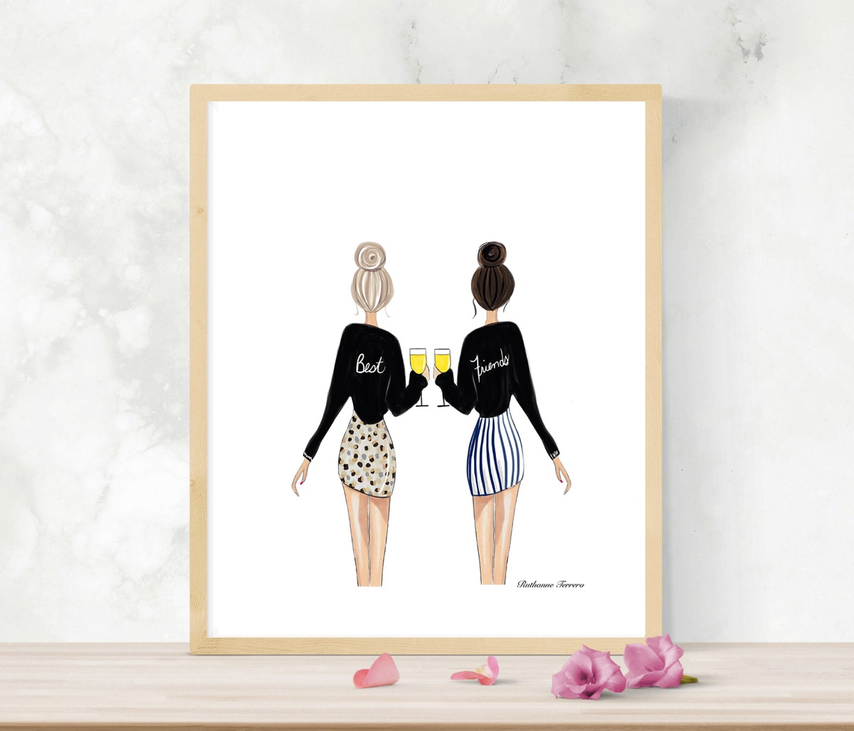 illustration of two women standing next to each other, best friend gifts