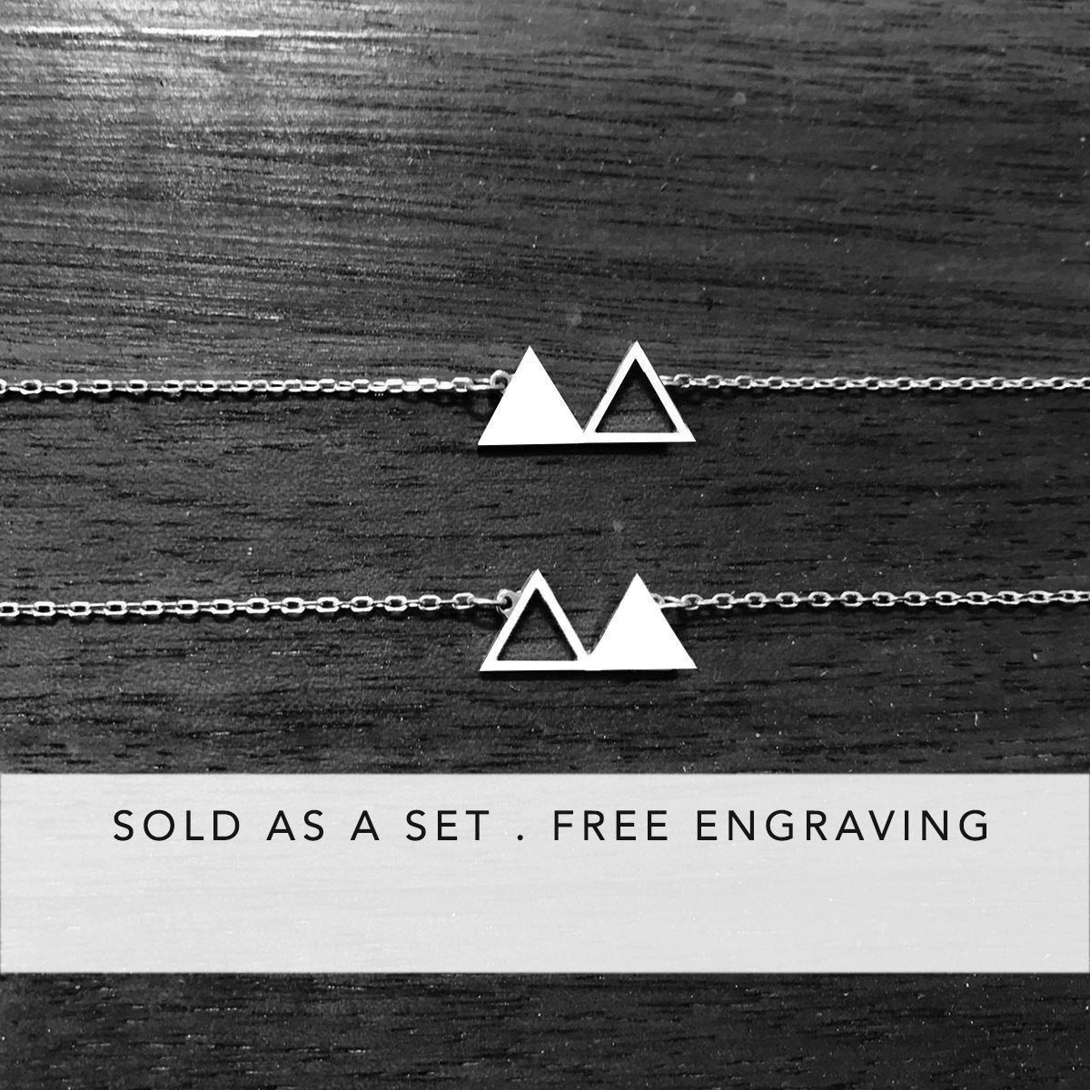 silver triangle necklaces, best friend gifts