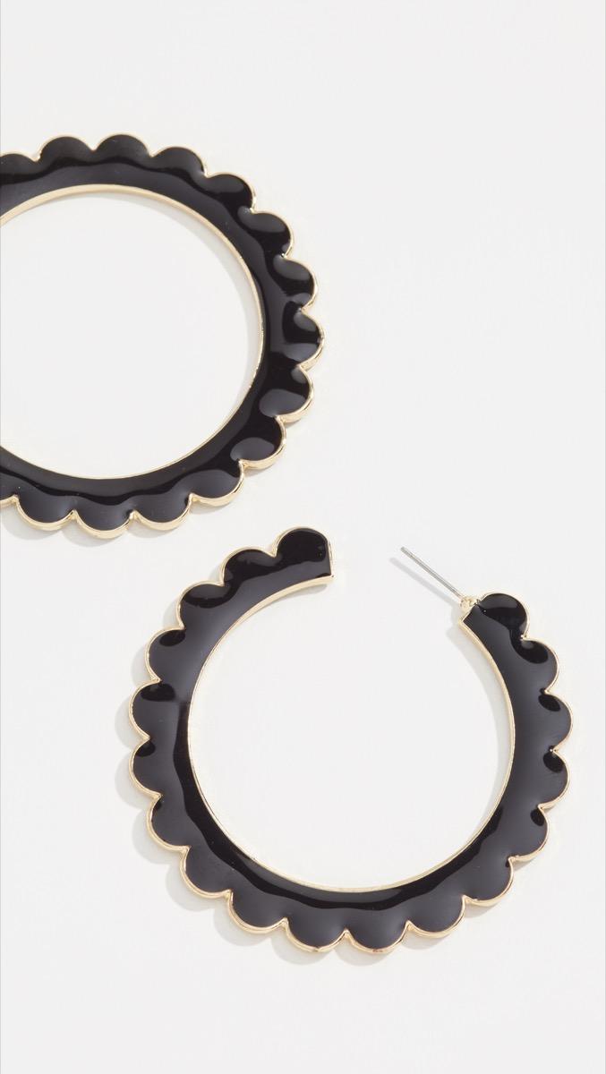 black scalloped hoop earrings, best gifts for girlfriend