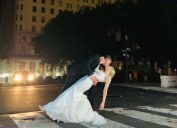 bride and groom new york city blackout wedding viral photo