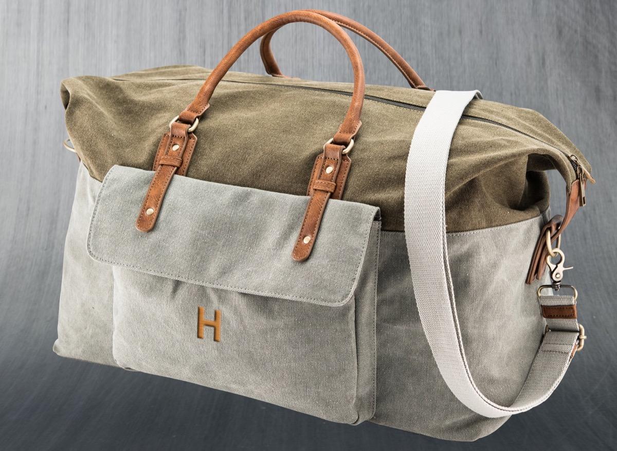 monogrammed canvas bag, best friend gifts