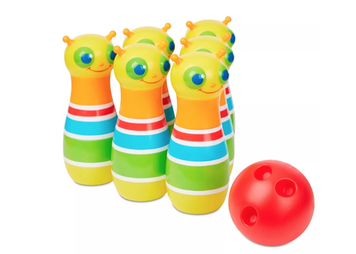 toy bowling pins and red ball, best outdoor toys for toddlers