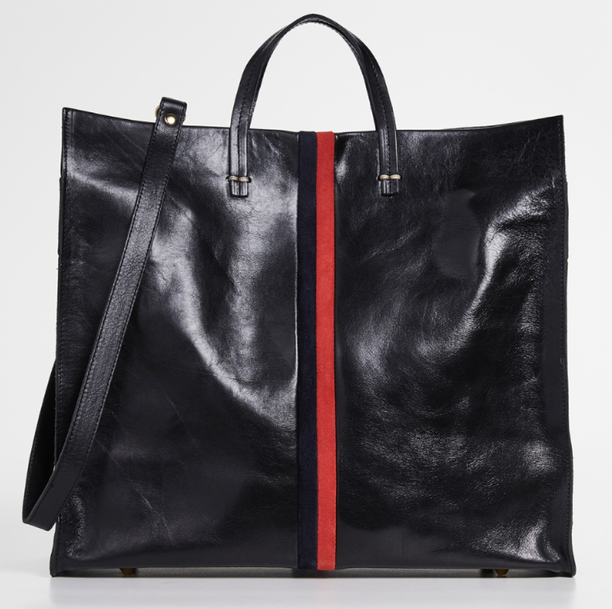 black bag with ted stripe down the middle, luxury beach bags