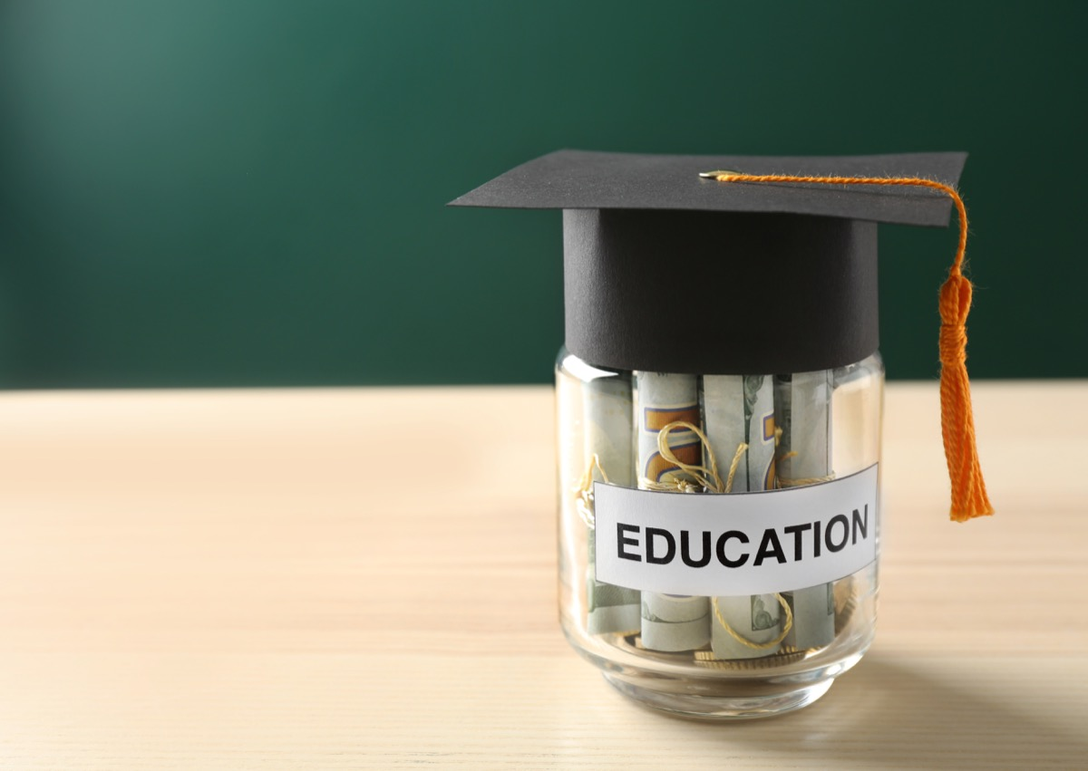 A jar filled with money for college ways college is different