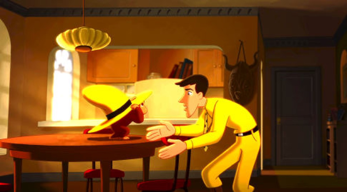 George and Ted, The Man with the Yellow Hat (voiced by WILL FERRELL), do a little monkeying around in the big city in Universal Pictures and Imagine Entertainment?s all new animated-adventure ?Curious George.?