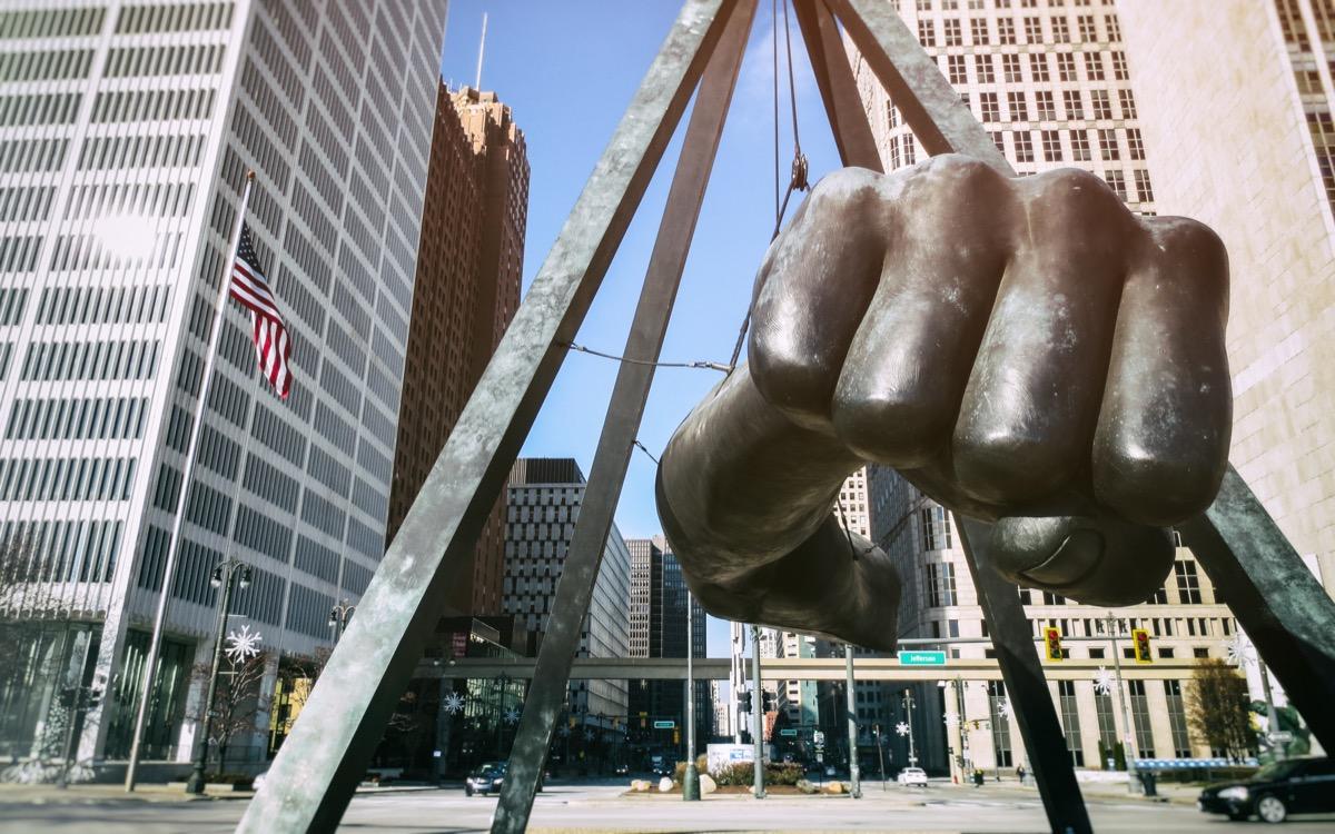 fist statue in detroit michigan