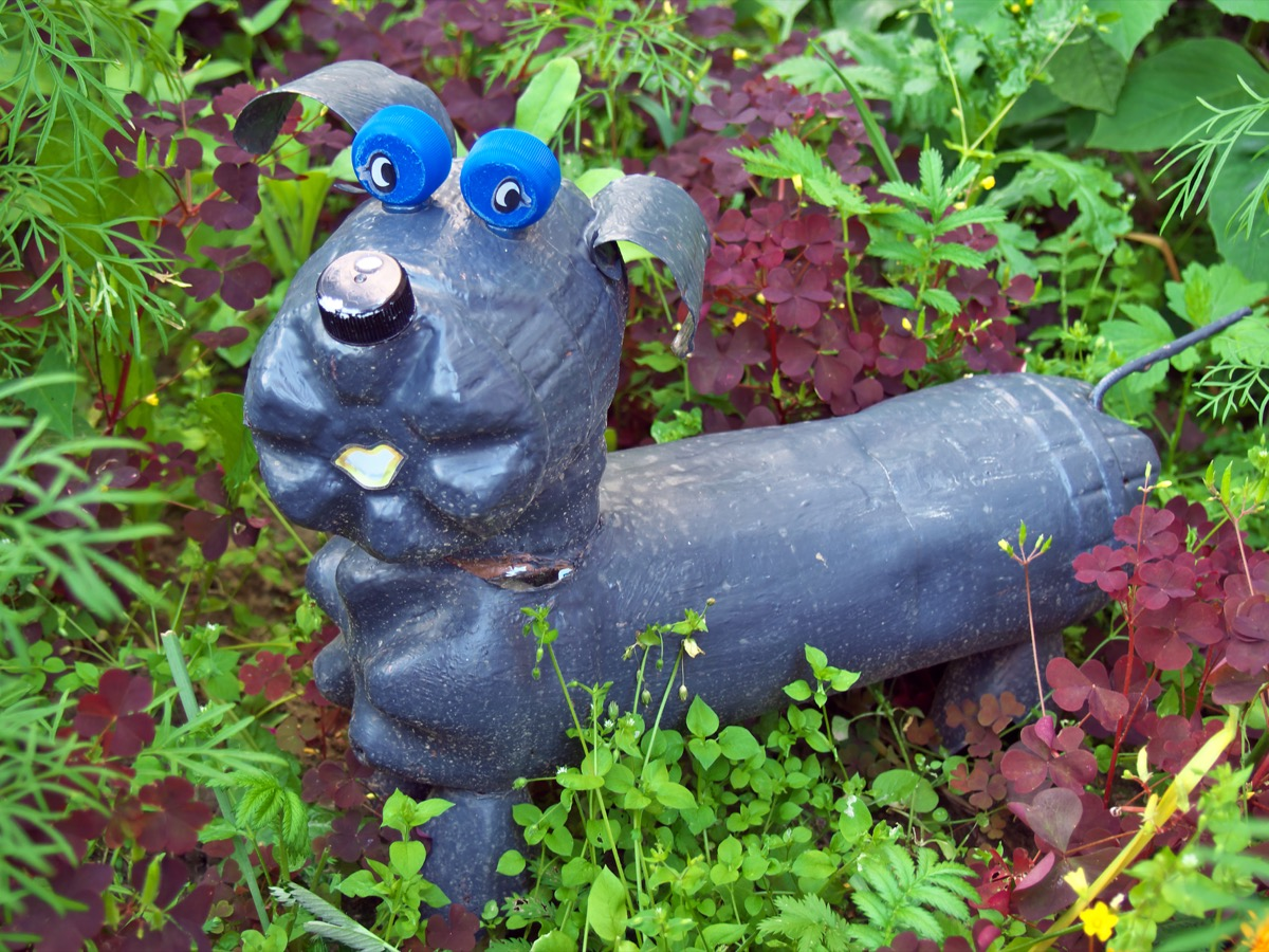 DIY Dog Sculpture in a Garden