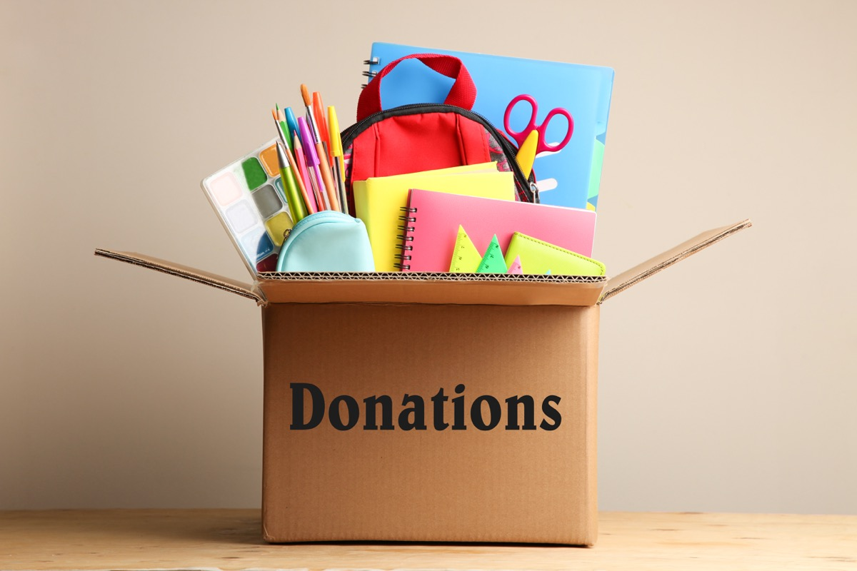 donations bin of school supplies