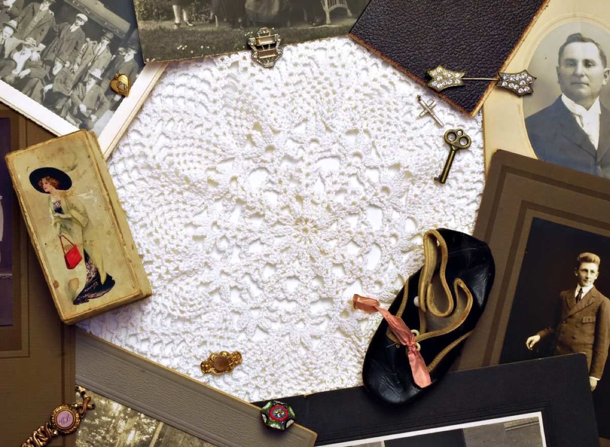 doily, key, book, shoe, and other family heirlooms, things you should never store in your basement