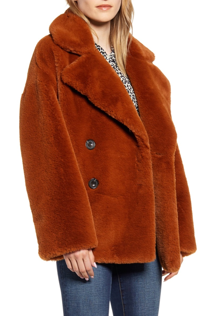 double breasted faux fur coat, Nordstrom anniversary sale