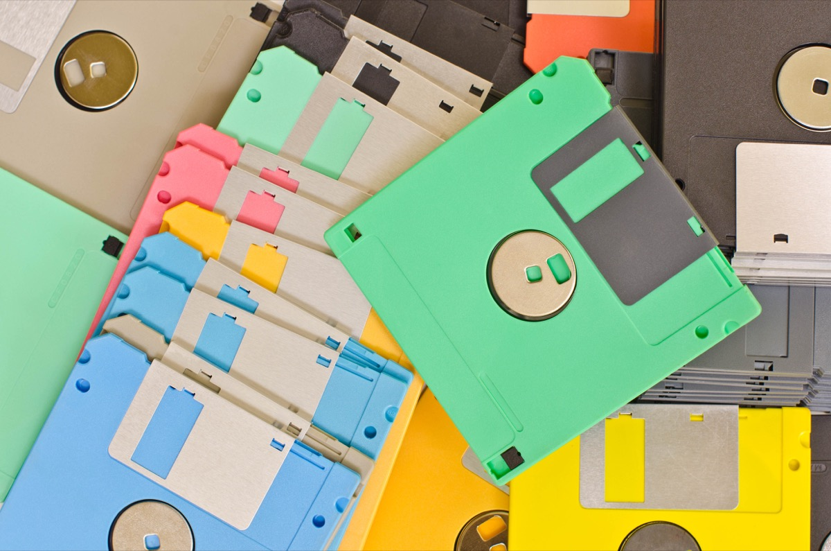 Colored Floppy Discs Old Classroom Objects