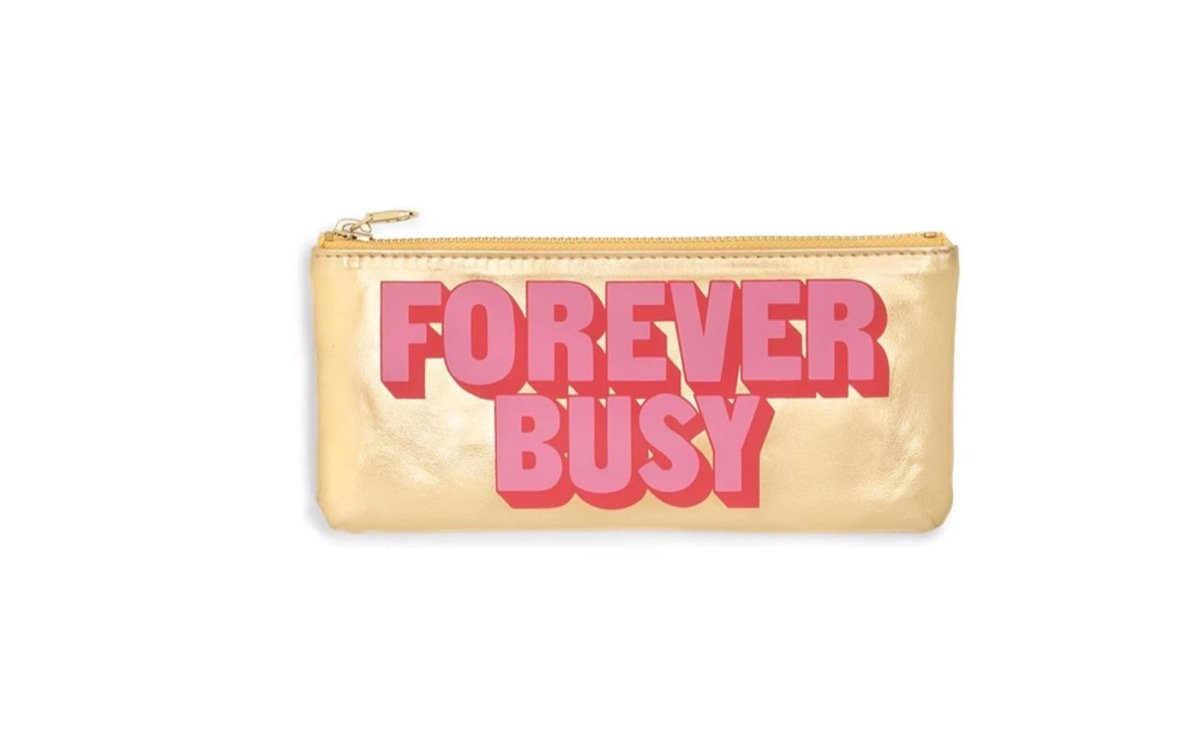 """gold pouch with """"forever busy"""" written on it, best gifts for girlfriend"""