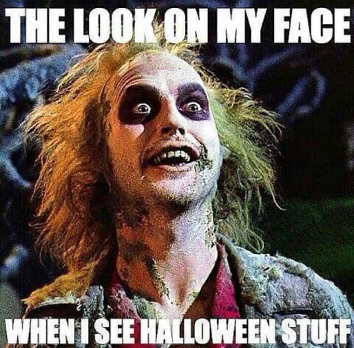 beetlejuice face, halloween memes