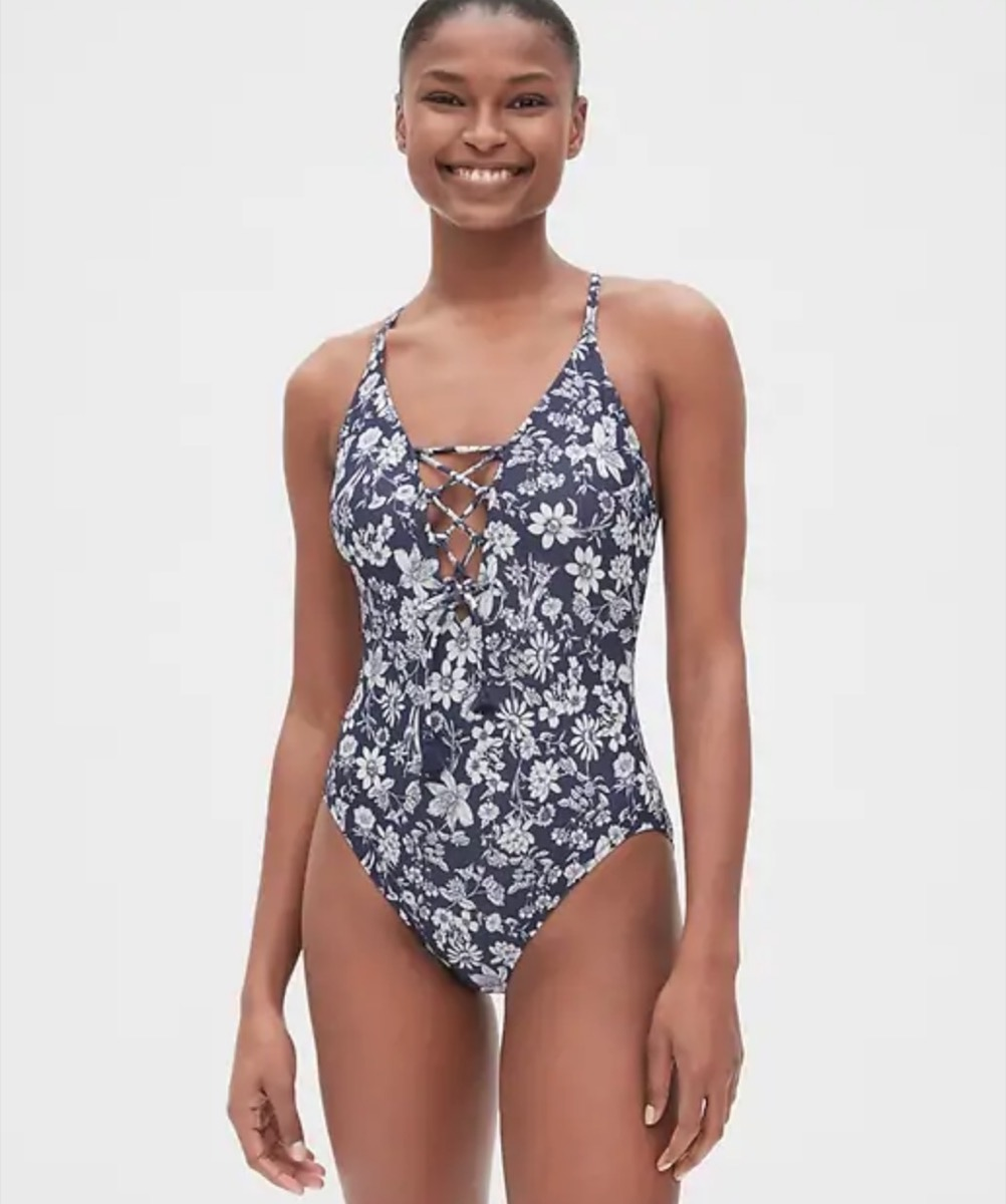 gap black and white lace up suit, cheap swimsuits