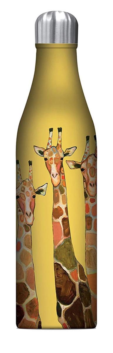 yellow water bottle with giraffes on it, cute water bottles