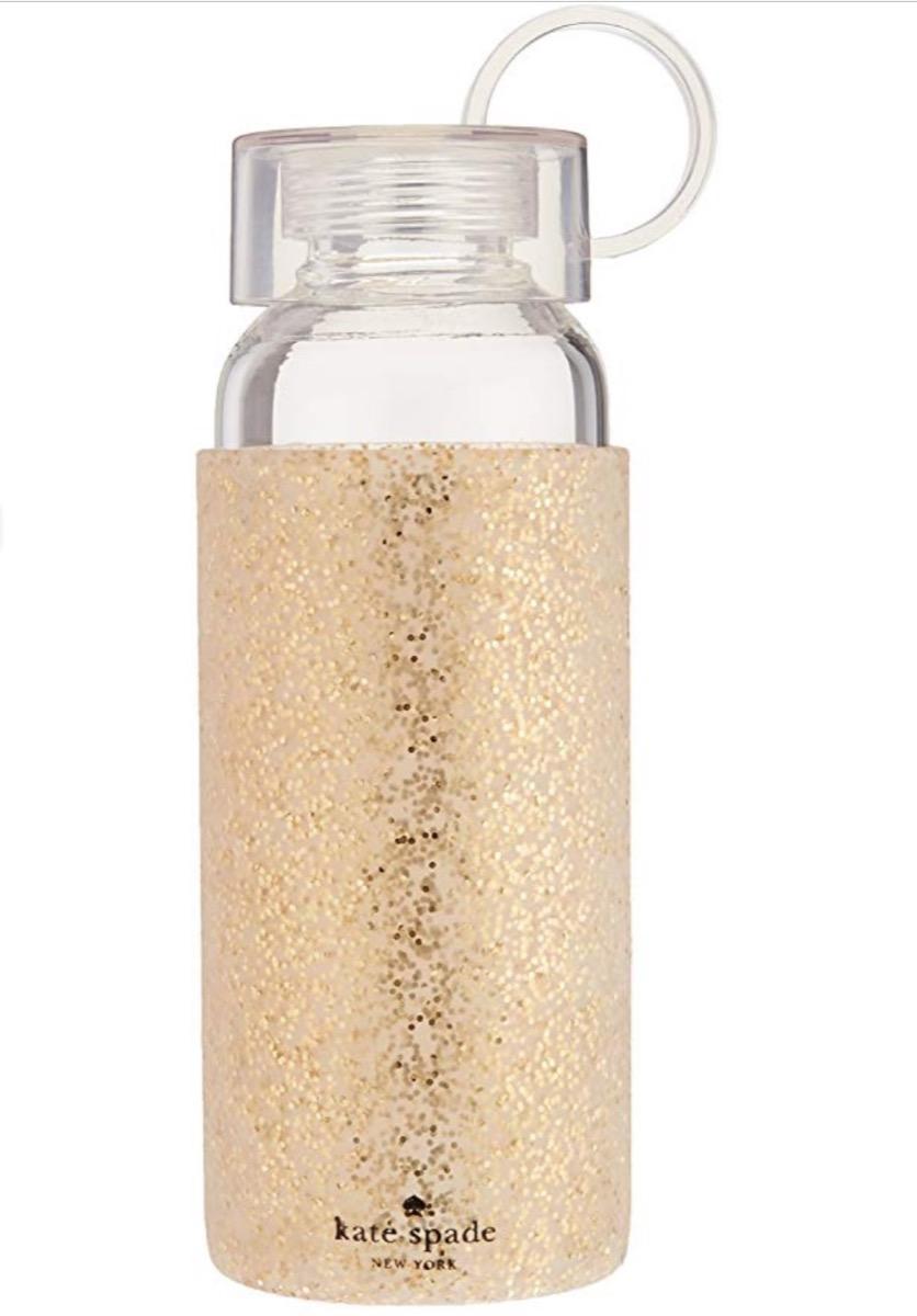 gold glitter water bottle, cute water bottles